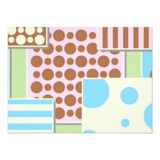 Pois et rayures mignons carton d'invitation  13,97 cm x 19,05 cm