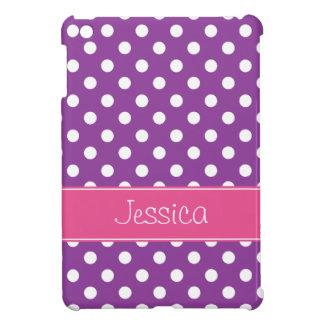 Pois pourpre et rose de très bon goût personnalisé coque pour iPad mini