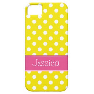 Pois rose et jaune de très bon goût personnalisé coque Case-Mate iPhone 5