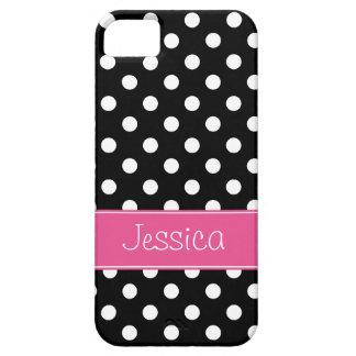 Pois rose et noir de très bon goût personnalisé iPhone 5 case