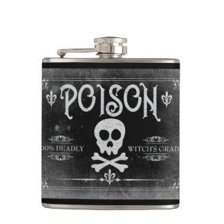 Poison Label Hip Flask