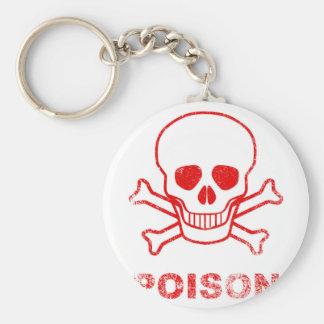 Poison Red Ink Stamp Basic Round Button Keychain