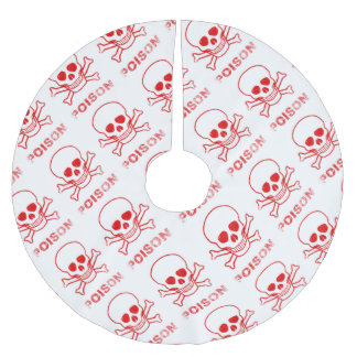 Poison Red Ink Stamp Brushed Polyester Tree Skirt