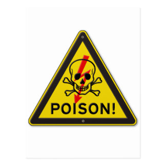 Poison Warning Skull and Crossbones sign Postcard
