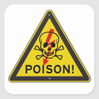 Poison Warning Skull and Crossbones sign Square Sticker