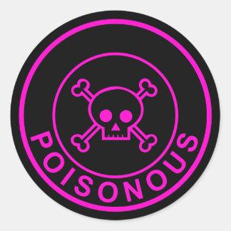 Poisonous pink black circle skull sticker