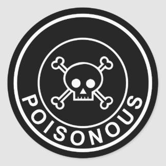 Poisonous white black circle skull sticker
