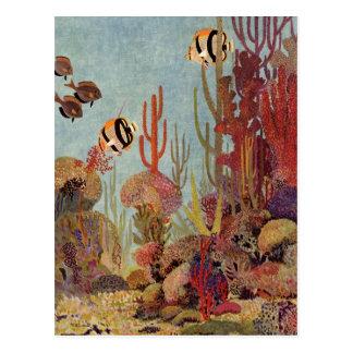 Poissons tropicaux vintages et corail dans l océan carte postale