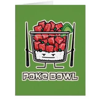 Poke bowl Hawaii raw fish salad chopsticks aku Card