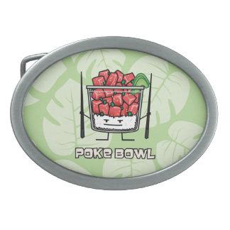 Poke bowl Hawaii raw fish salad chopsticks aku Oval Belt Buckle