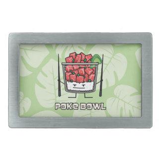 Poke bowl Hawaii raw fish salad chopsticks aku Rectangular Belt Buckles
