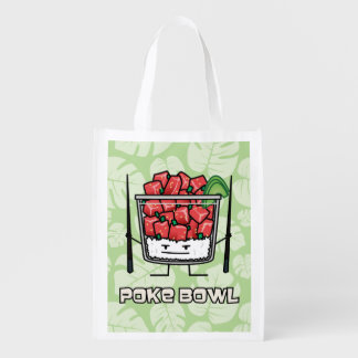 Poke bowl Hawaii raw fish salad chopsticks aku Reusable Grocery Bag