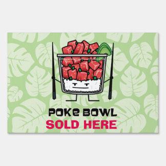 Poke bowl Hawaii raw fish salad chopsticks aku Sign