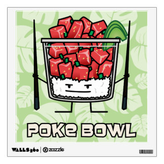 Poke bowl Hawaii raw fish salad chopsticks aku Wall Decal