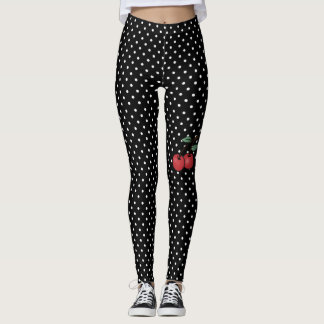 poke dots with cherry accent leggings