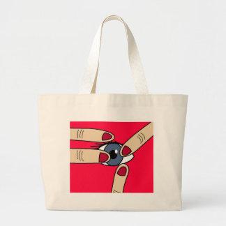 Poke in the eye large tote bag