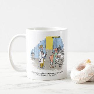 Poke right hand cartoon mug