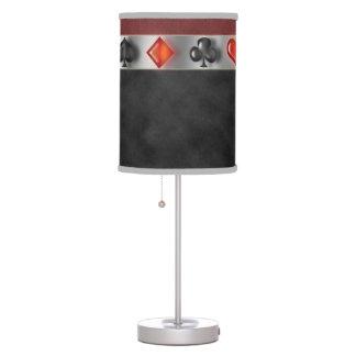Poker 4 Suites of Cards Black Red Digital Suede Desk Lamps