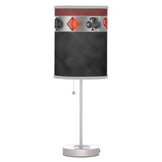 Poker 4 Suites of Cards Black Red Digital Suede Table Lamp