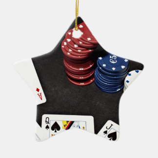 Poker ace bet good hand ceramic star ornament