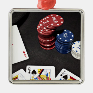Poker ace bet good hand Silver-Colored square ornament