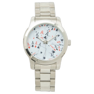 Poker, Aces Pattern, Large Unisex Silver Watch