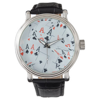 Poker, Aces Pattern, Mens Large Dial Leather Watch
