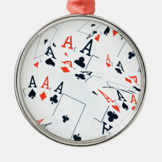 Poker,_Aces,_Pattern,_ Silver-Colored Round Ornament