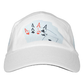 Poker, Aces, Quads, Cards,  White Performance Cap