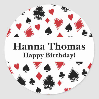 Poker Card Game Casino Birthday Classic Round Sticker