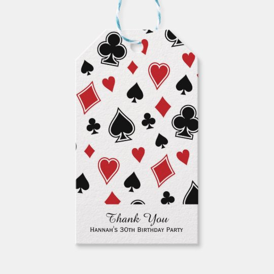 Poker Card Game Casino Birthday Gift Tags