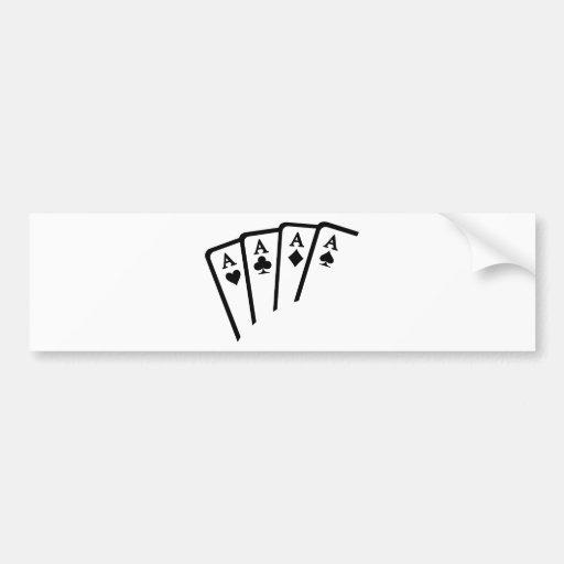 Poker Cards Aces Bumper Sticker