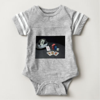 Poker cards gangster hat baby bodysuit
