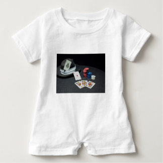 Poker cards gangster hat baby romper