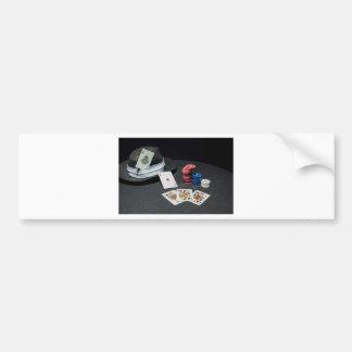 Poker cards gangster hat bumper sticker