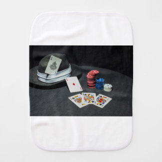 Poker cards gangster hat burp cloth