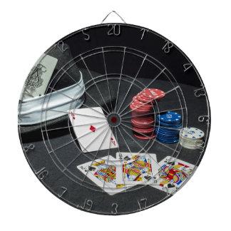 Poker cards gangster hat dartboard