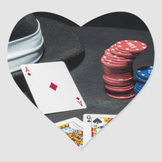 Poker cards gangster hat heart sticker