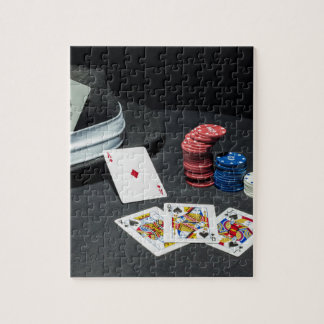 Poker cards gangster hat jigsaw puzzle