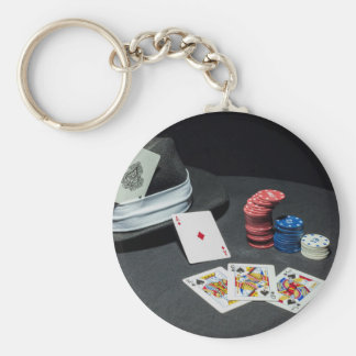Poker cards gangster hat keychain