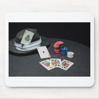 Poker cards gangster hat mouse pad