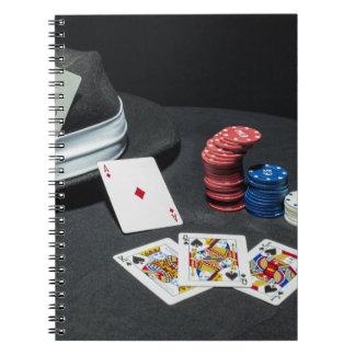 Poker cards gangster hat notebook