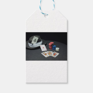 Poker cards gangster hat pack of gift tags