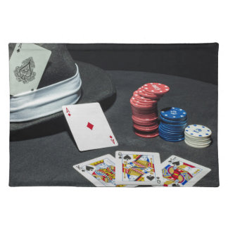 Poker cards gangster hat placemat