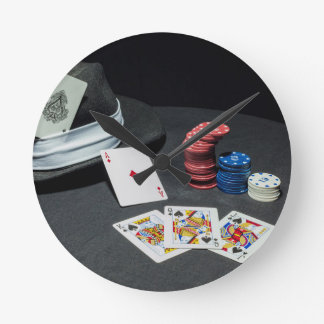 Poker cards gangster hat round clock