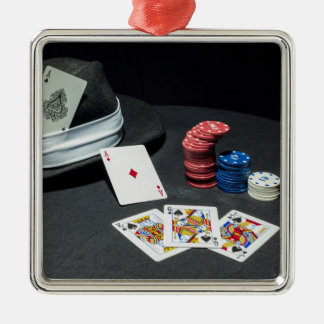 Poker cards gangster hat Silver-Colored square ornament
