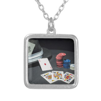 Poker cards gangster hat silver plated necklace