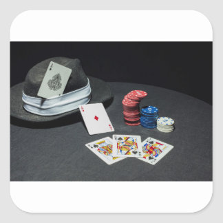 Poker cards gangster hat square sticker