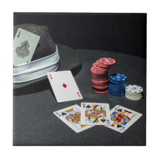 Poker cards gangster hat tile