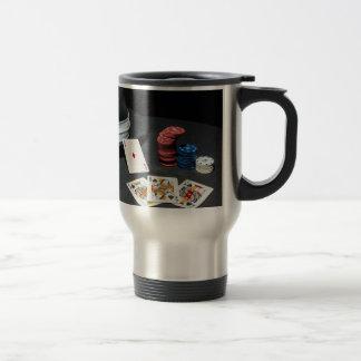 Poker cards gangster hat travel mug